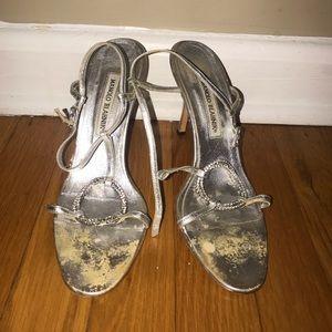 Manolo Blahnik Silver Sandal Heels